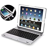 iPad 2 3 4 Keyboard Case - iPad 2 3 4 Case with Wireless BT Keyboard - iPad 2 3 4 Case with Powerbank[2800mAh] - iPad Keyboard 2nd 3rd 4th Generation Case - Hard Clamshell Protective Cover - Silver