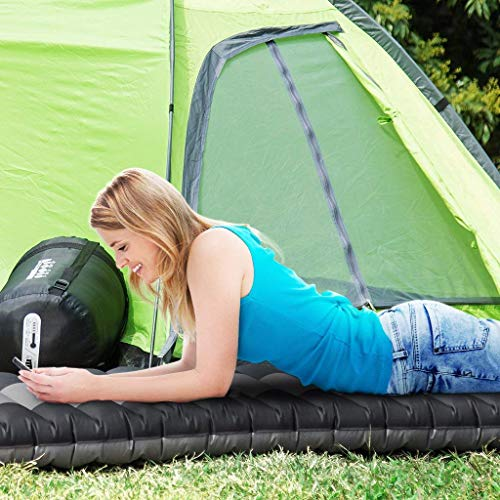 ENKEEO Inflated Sleeping Pad Lightweight Inflatable Camping Mat Comfortable & Ergonomic Textured Design Airbed Packing Bag Backpacking Hiking Traveling Tenting, Black Grey