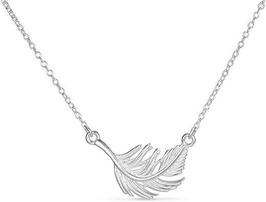 collier argent plume femme