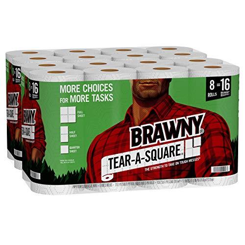 Brawny Tear-A-Square Paper Towels, 16 Double Rolls = 32 Regular Rolls, 3 Sheet Size Options, Quarter Size Sheets