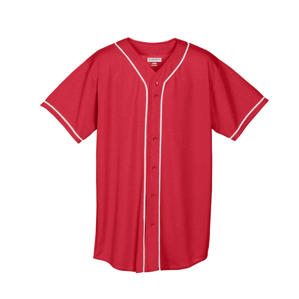 Augusta Sportswear Augusta Wicking Mesh Button Front Jersey with Braid Trim, Red/White, Medium by Augusta Sportswear
