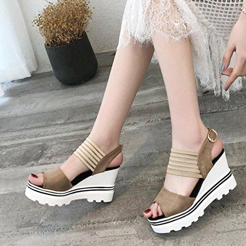 Omiky® Frauen Damen Mode Fisch Mund Plattform High Heels Keil Sandalen Schnalle Slope Sandalen Khaki