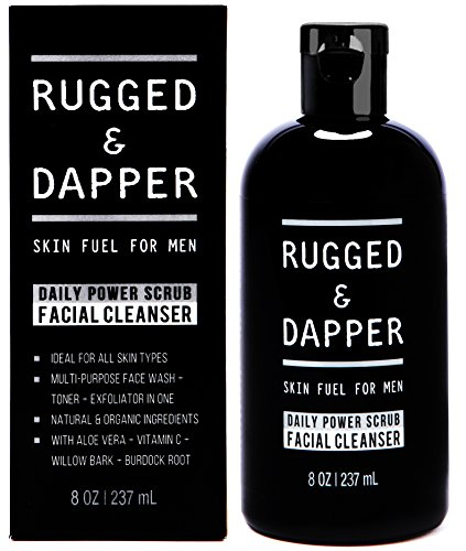 Nettoyant Facial puissance gommage quotidien pour hommes - 8 OZ - se laver le visage énergisant Toner + exfoliant Scrub All-In-One - naturel & certifié ingrédients biologiques
