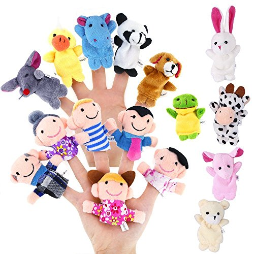 Geefia Finger Puppets for Kids, 16 Pcs Hand Puppets Animals and Peopel for Baby Story Time Props by Geefia