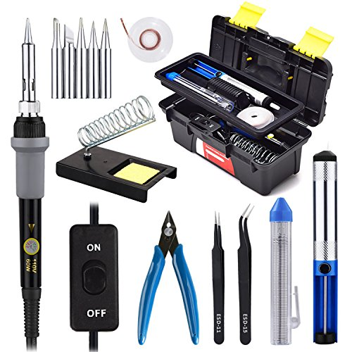 Soldering Iron Kit with On/Off Switch 60W 110V Adjustable Temperature Welding Soldering Iron, 5pcs Tips, Solder Sucker, Solder Wire, Tweezers, Desoldering Wick, Iron Stand and Sponge with Tool Case Ceramic Iron Soldering Iron