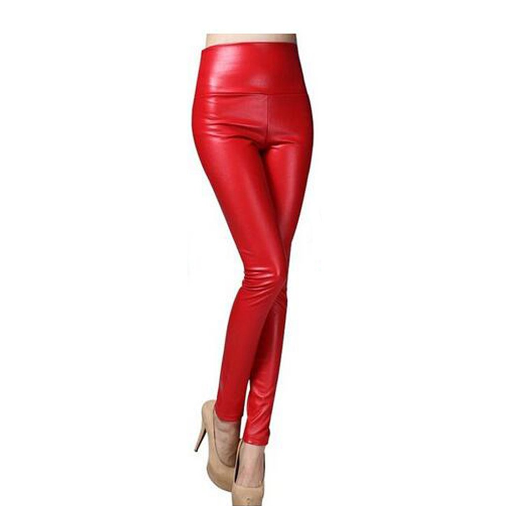 Xinvision Women Faux PU Leather High Waist Tights Stretchy Skinny Leggings Pants