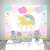 HUAYI Photography Backdrops Golden Unicorn Background Rainbow Birthday Party Decor for Girl Baby Shower Photo Booth Table Cloth 7x5ft W-1819
