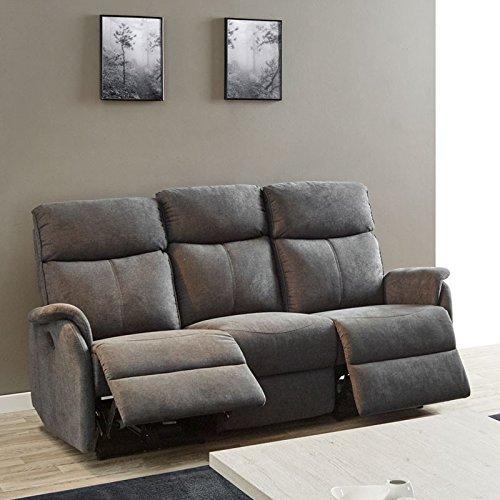 Tousmesmeubles Sofá 3P + sillón Relax eléctrico Tejido Gris ...
