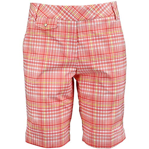PUMA Golf NA Women's Plaid Tech Bermuda Shorts, White/Desert Flower, 6 ()