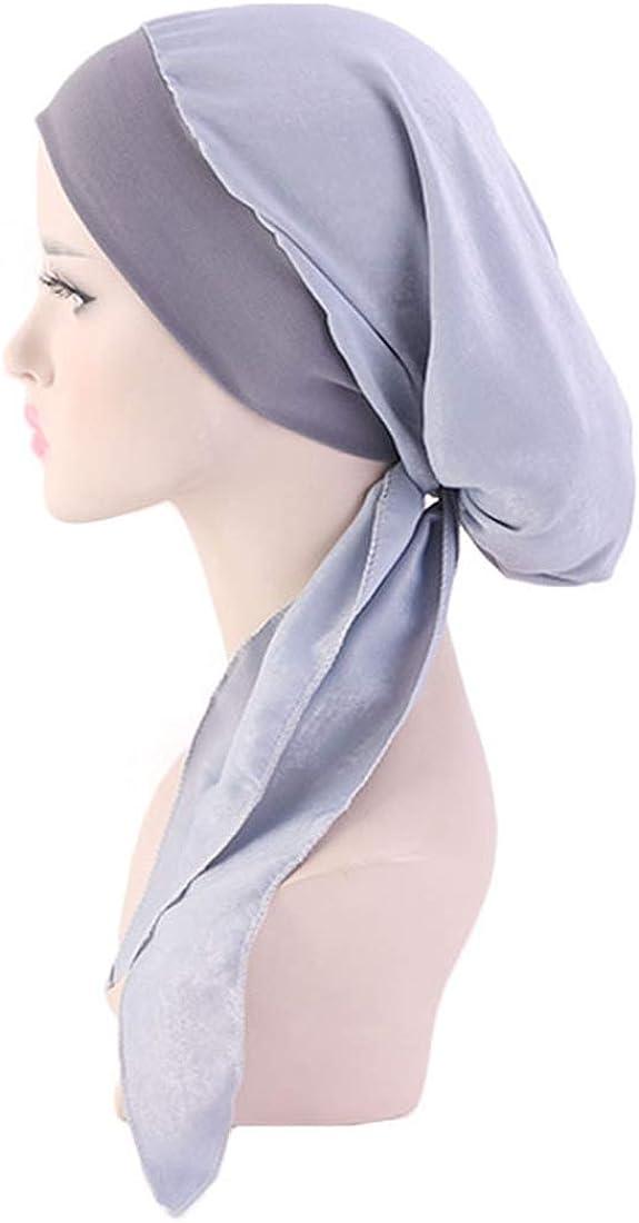 RdChicLog Turban Femme Musulman Satin Soie Chapeau Hijab Bandeau Chimio Cancer Perte de Cheveux