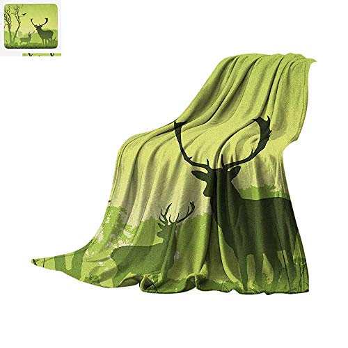 (Antlers Digital Printing Blanket Male Deer on a Meadow with Trees and Crow Bird Woodland Mist Rural Green Country Print Oversized Travel Throw Cover Blanket 60