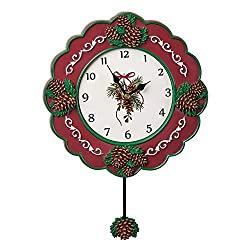 Hand Painted Holiday Wall Clock with Pinecone Pendulum, Cute Festive Wall Decoration
