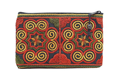 Sabai Jai Coin Purse Handmade Small Embroidered Ethnic Boho Bag with Beads – Stylish Spiral Pattern Bag for Girls Carry Cash Cards Coins (Red/Orange)