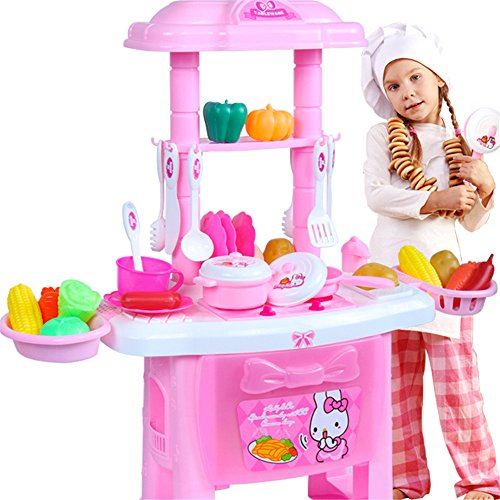 Longlove Long Love New Children's Play House Kitchen Cutlery Table Toy Simulation Cooking Table Set Suit Girl Play (Large Dining Table Silent Light Version 18 Sets)
