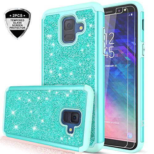 Samsung Galaxy A6 Case with Tempered Glass Screen Protector [2 Pack], LeYi Glitter Bling Girls Women Dual Layer Heavy Duty Protective Phone Case Cover for Samsung Galaxy A6 2018 (5.6) TP Mint