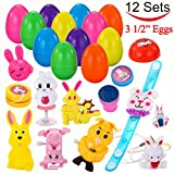 "Toys : 12 PCs Toys Filled Easter Eggs, 3.25"" Jumbo Colorful Prefilled Plastic Easter Eggs with Bunny Rabbit Toys Include LED Necklace, Bracelet, Ring for Easter basket stuffers, Egg hunting by Joyin Toy"