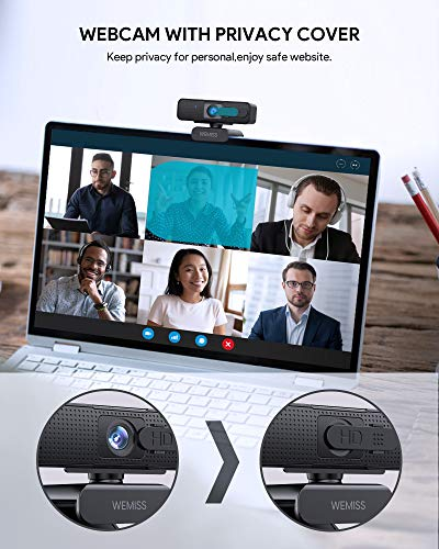 Webcam 1080P Full HD con Microfono, WEMISS Autofocus Webcam per PC con Correzione della Luce e Otturatore della Privacy VideoCamera per Video Chat Compatibile con Windows Mac e Android 2 spesavip