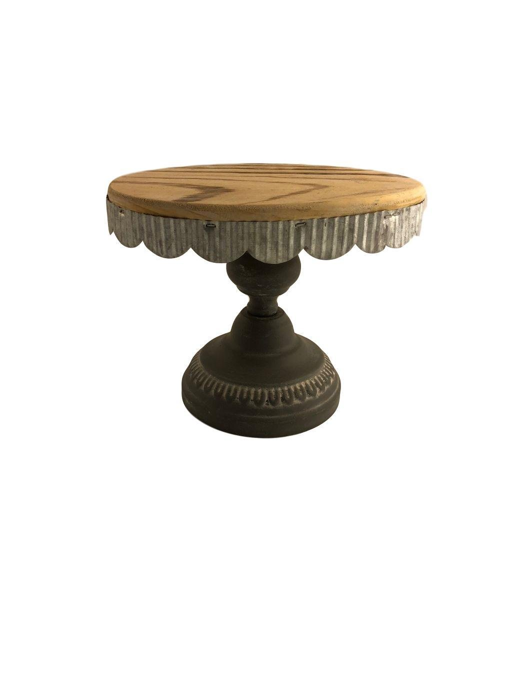 Cake Pedestal Stand Wood Vintage Wedding Cake Stand Cupcakes Cakes Assorted Size Large Small Medium (Oval 7.6X5.7X5.4H, Grey and Wood)