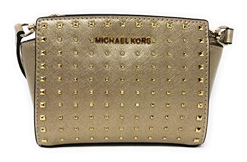 Gold Messenger Handbags Small - Michael Kors Selma Stud Mini Saffiano Leather Crossbody Bag in Pale Gold