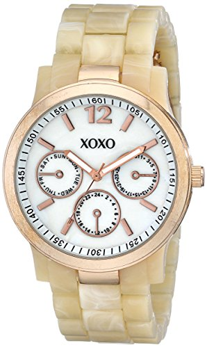 Horn Link Bracelet Watch - XOXO Women's XO5513 Horn Color Bracelet with Rose Gold Case Watch