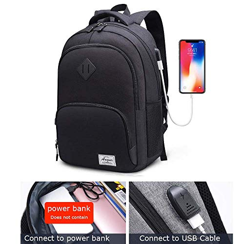 AUGUR Laptop College Backpack Lightweight Minimalism with USB Charging Port Business School Book Bag Travel Hiking Camping Outdoor Daypack Back pack Fits 15.6-Inch Notebook (Black)