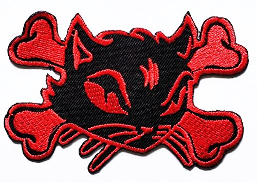 Nipitshop Patches Red Cat Halloween Patch Embroidered Patch Skull Ghost Patch Biker Motorcycle Rider Novelty Patch for Clothes Backpacks T-shirt Jeans Skirt vests scarf Hat Bag ()