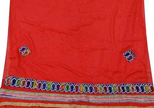 Vintage Style New Indian Dupatta Long Scarf Art Silk Embroidered Red Veil Stole