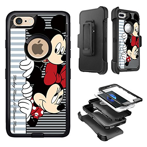 (GSPSTORE iPhone 8 Plus case,Mickey and Minnie Pattern Shockproof Heavy Duty Protection Case with Clip Holster Cover for iPhone 8 Plus #02)