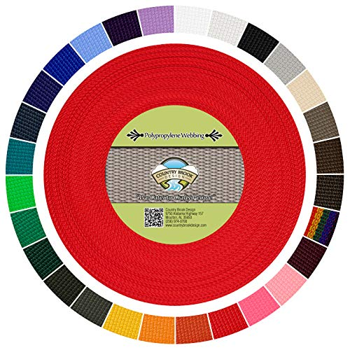 (Country Brook Design | Polypropylene Webbing (1 Inch) (Red, 25 Yards))