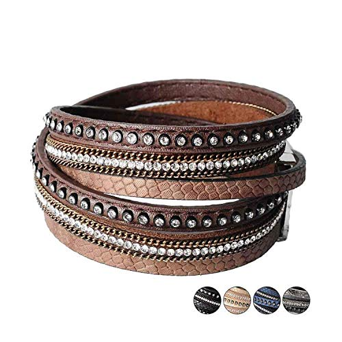 wrap Leather Bangle Charm Winter Leather Bracelet Women Jewelry BW Dropshipping,Brown by Mannerg bracelets (Image #2)