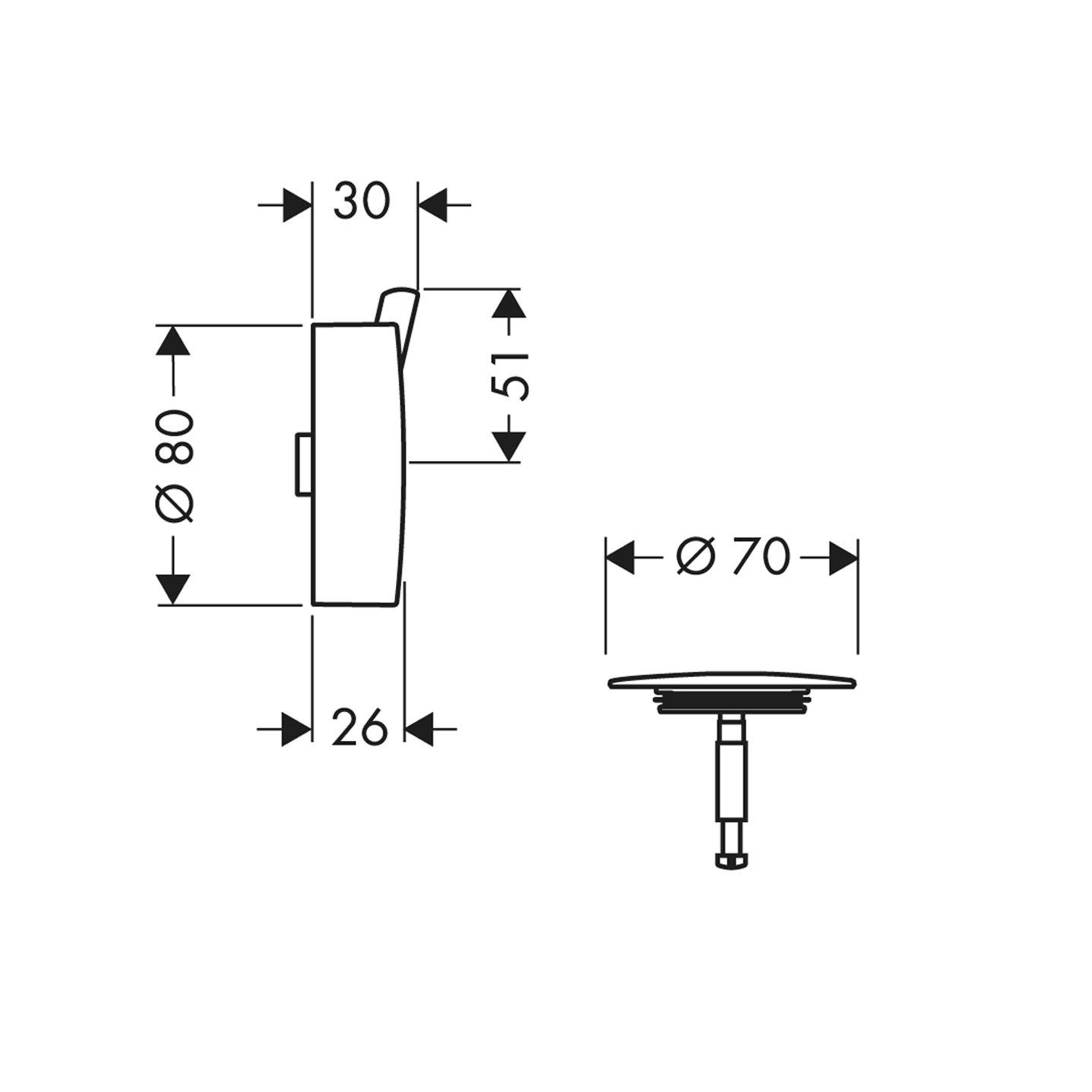 Hansgrohe 58186000 Flexaplus S embellecedor para ba/ñeras normales y especiales cromo