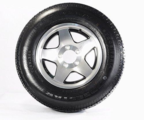 eCustomRim 2-Pk Radial Trailer Tire Rim ST205/75R14 Load C 5 Lug Aluminum Black Star (Aluminum Star Rim)