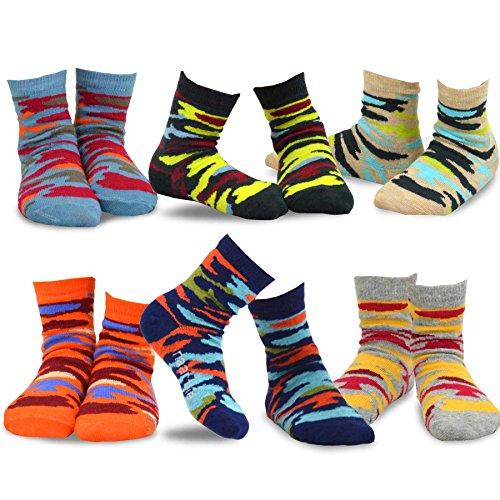 TeeHee Kids Boys Cotton Fashion Fun Crew Socks 6 Pair Pack (3-5Y, Colorful Camo)