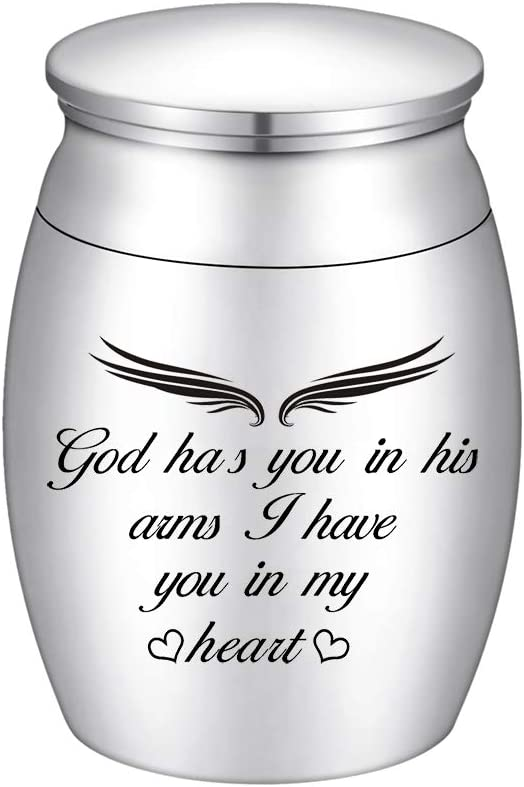 Amazon.com: XIUDA Small Keepsake Urns for Human Ashes Mini Cremation Urn Stainless Steel Ashes Keepsake Memorial Ashes Holder-God Has You in His Arms, I Have You in My Heart: Home & Kitchen
