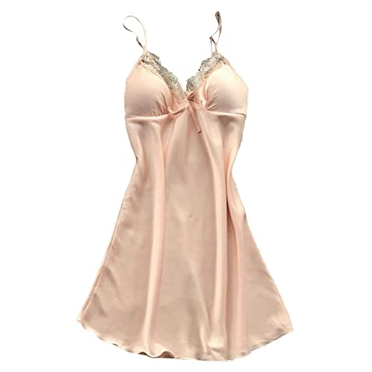 8db376958 Nihewoo Satin Nightshirts Sexy Nightdress Spaghetti Strap Negligee Nightgown  Chemise Slip with Deep V Neck Beige