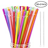 Hiware 52 Pcs Reusable Plastic Straws for Tumbler, Mason Jars, Cupture/Maars Acrylic, YETI/RTIC, Starbucks, Tervis, 10.25' Extra Long 10 Colors Replacement Drinking Straws with 2 Cleaning Brushes