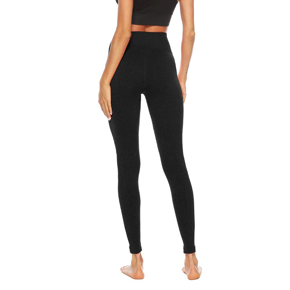 Women's Fitness Sport Capris Solid Line High Waist Workout Ruche Booty Thights Yoga Athletic Leggings (XL, Black) by FDSD Women Pants (Image #3)