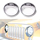 ICARS Chrome Silver Front Headlight Trim Cover Bezels Pair Jeep Wrangler Rubicon Sahara Sport Jk Unlimited Accessories 2 door 4 door 2007 - 2017