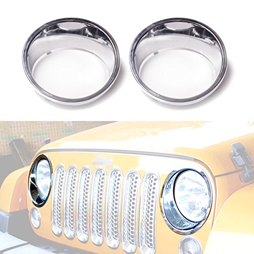 2006 Chrome Headlights Trim (ICARS Chrome Silver Front Headlight Trim Cover Bezels Pair Jeep Wrangler Rubicon Sahara Sport Jk Unlimited Accessories 2 door 4 door 2007 - 2017)