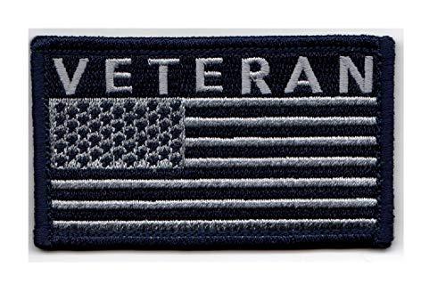 """Veteran American Flag 2"""" x 3.5"""" Blue/Grey Hook & Loop 2 Piece Patch"""