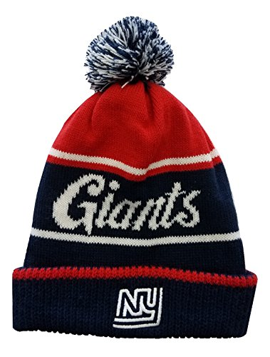 NIKE Men's New York Giants Removable Pom Beanie Hat Navy/Red/White One Size (Nike Lightweight Beanie)