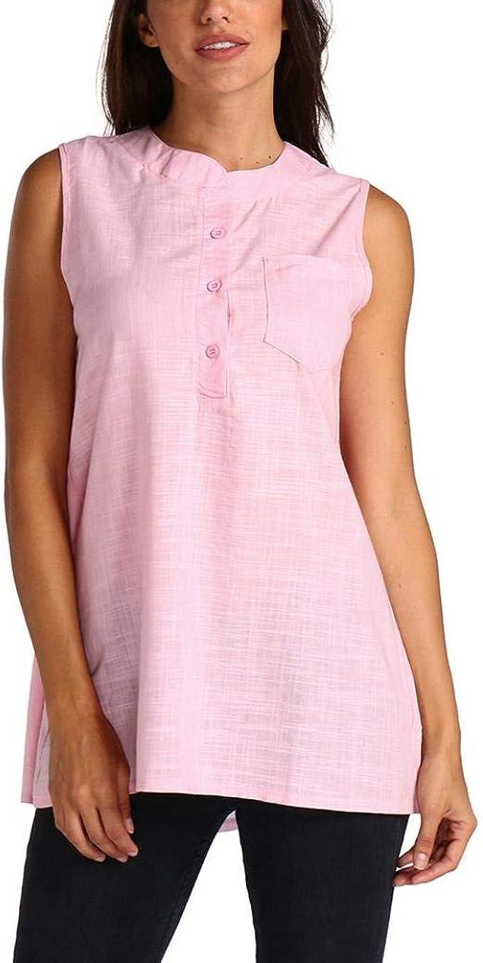 Rinalay Mujer Camisas Fashion Casual Chic Pin-Up Tank Sin Verano Tops Mangas Vida de la Moda Camiseta Color Sólido con Bolsillos Botonadura Shirts Tops (Color : Rosa, Size : S): Amazon.es: Ropa