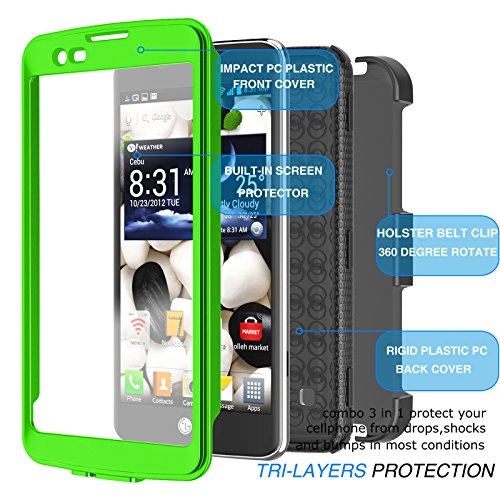 LG Escape 3 Case, LG Phoenix 2 Case, LG Treasure LTE Case, Tekcoo [TShell] [Green] Shock Absorbing [Built-in Screen Protector] Holster Locking Belt Clip Defender Heavy Cover For LG K7/ K8/ Tribute 5 by Tekcoo (Image #6)