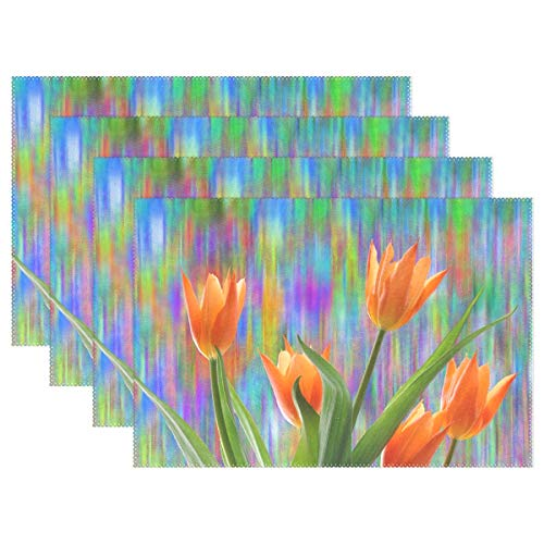 Tulips Spring Easter Nature Flower Plant Blossom Placemats Set Of 4 Heat Insulation Stain Resistant For Dining Table Durable Non-slip Kitchen Table Place Mats ()