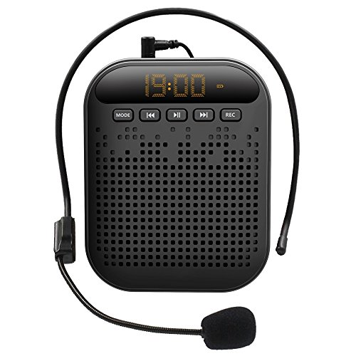 Portable Voice Amplifier, BizoeRade Rechargeable Mini Voice Amplifier with Microphone & Waistband, Support FM, Repeat, Music Player for Teachers, Coaches, Tour Guides, Presentations, Yoga Instructors by BizoeRade