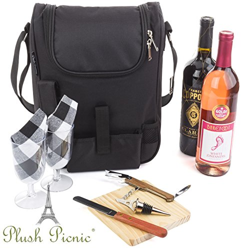 Insulated Travel Wine Tote Bag: Portable 2 Bottle Wine and Cheese Waterproof Black Canvas Carrier Bag Set with Picnic Kit - Corkscrew Wine Opener, Wine Stopper, Wooden Cheese Board and Knife Included (Luxury Wine Gift Baskets)