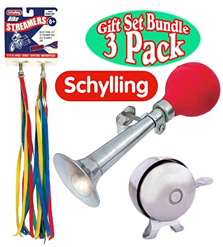(Schylling Bicycle Accessory Set with Bike Streamers, Bike Horn(Assorted Colors) & Bike Bell Deluxe Gift Set Bundle - 3)