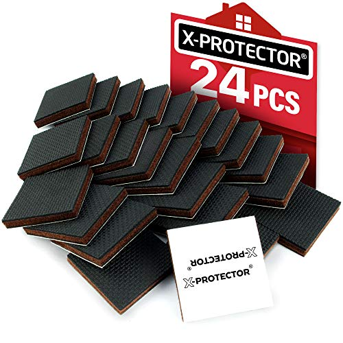 """X-PROTECTOR Furniture Grippers - Premium 24 pcs 2"""" Furniture Pads - Floor Protectors for Furniture Legs. Best Non Slip Pad Rubber Feet - Stop Your Furniture with Anti Slip Floor Pads!"""
