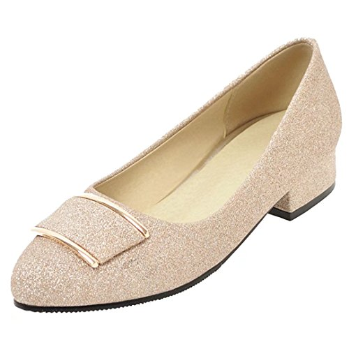 AIYOUMEI Damen Chunky Heel Glitzer Pumps mit 4cm Absatz Bequem Modern Slip on Schuhe 3upzEu