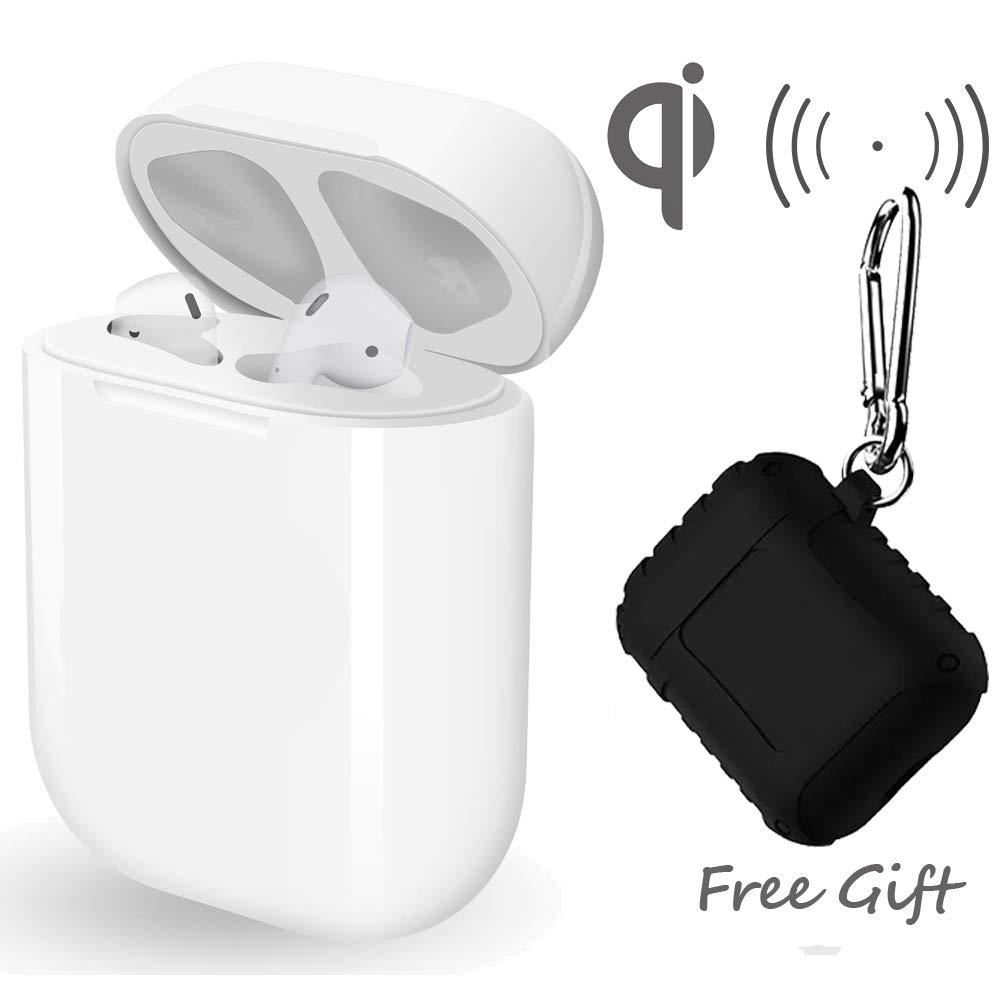 ワイヤレス充電交換用ケース Airpods用 保護ケース付き 軽量 オリジナルサイズ 450mAhの大容量 5回の充電 ギフトに最適 [Bluetoothボタンなし Airpodsなし]   B07MNZ3VX6